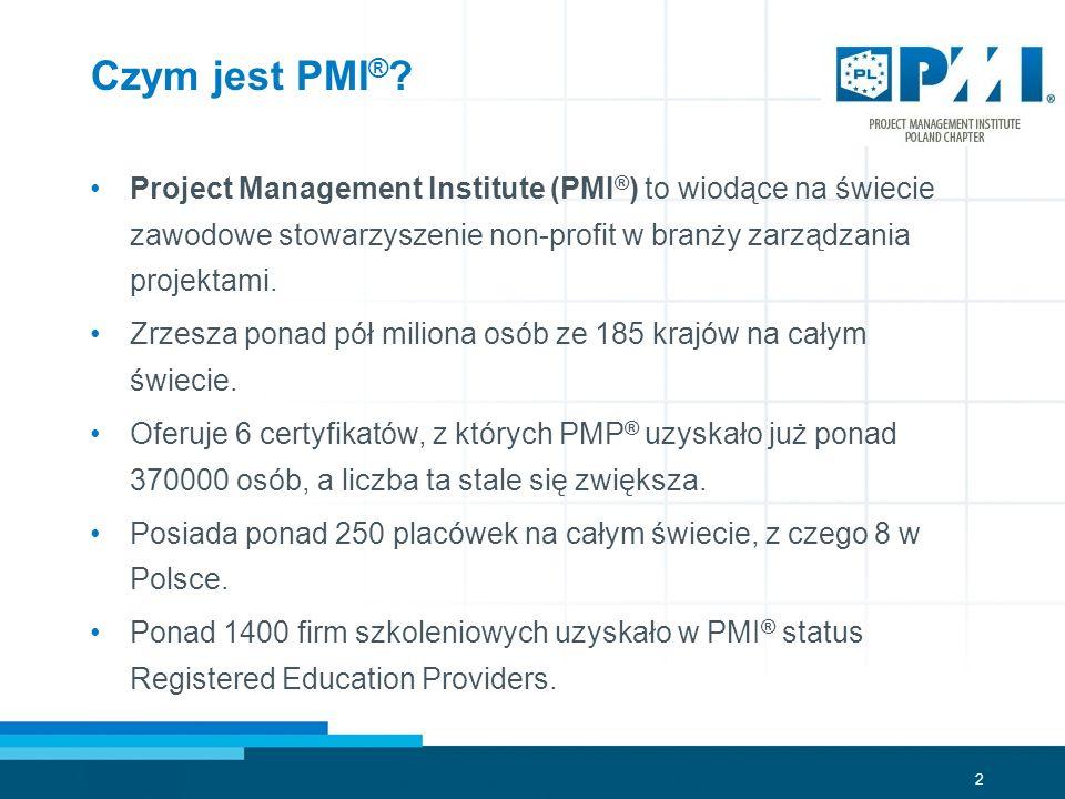 Czym jest PMI® Project Management Institute (PMI®) to wiodące na świecie zawodowe stowarzyszenie non-profit w branży zarządzania projektami.