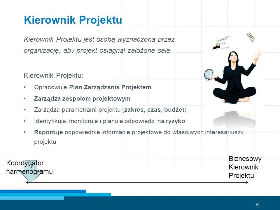Kierownik Projektu Kierownik Projektu jest osobą wyznaczoną przez organizację, aby projekt osiągnął założone cele.