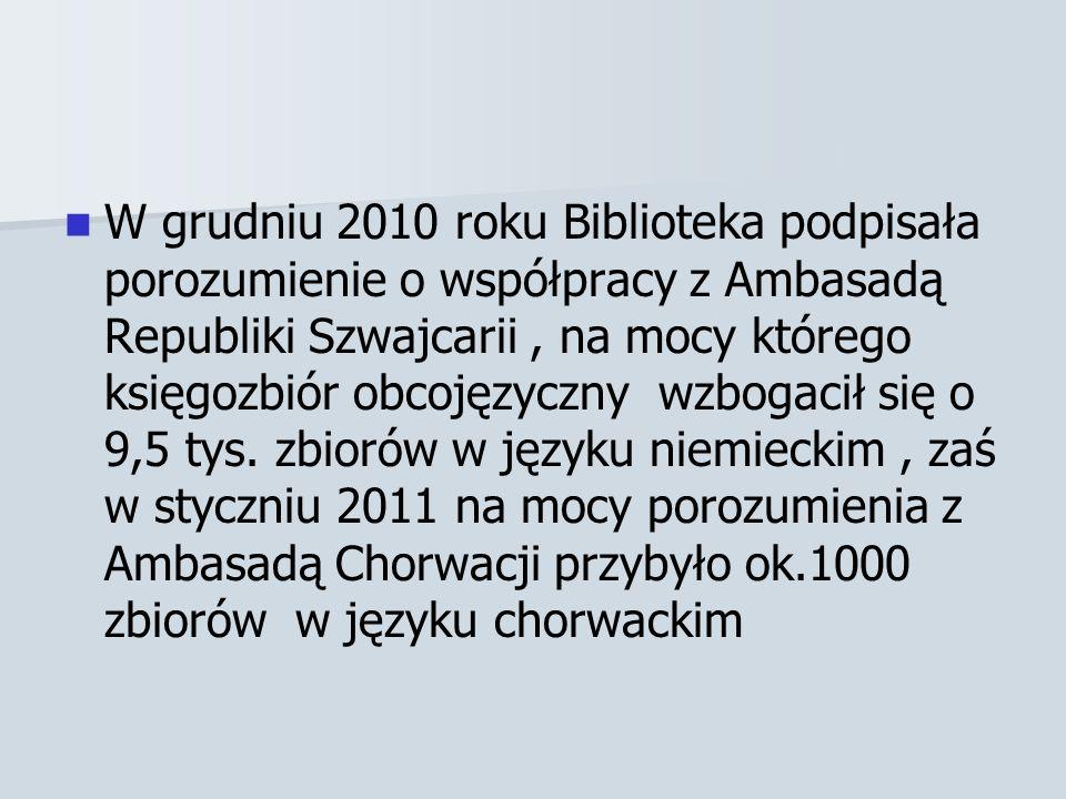 W grudniu 2010 roku Biblioteka podpisała porozumienie o współpracy z Ambasadą Republiki Szwajcarii , na mocy którego księgozbiór obcojęzyczny wzbogacił się o 9,5 tys.