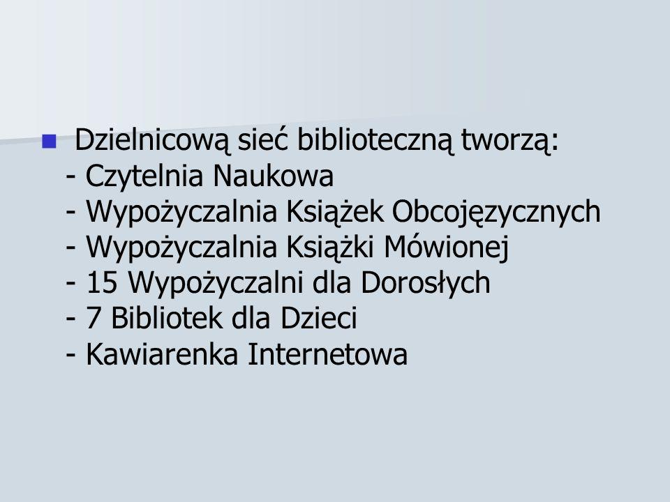 Dzielnicową sieć biblioteczną tworzą: - Czytelnia Naukowa - Wypożyczalnia Książek Obcojęzycznych - Wypożyczalnia Książki Mówionej - 15 Wypożyczalni dla Dorosłych - 7 Bibliotek dla Dzieci - Kawiarenka Internetowa