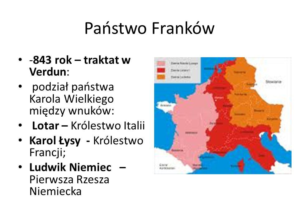 Państwo Franków -843 rok – traktat w Verdun: