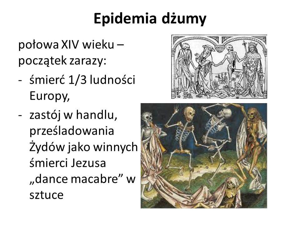 Epidemia dżumy połowa XIV wieku –początek zarazy: