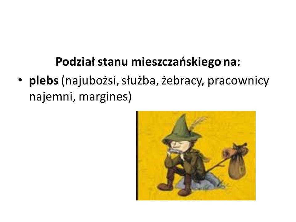 Podział stanu mieszczańskiego na: