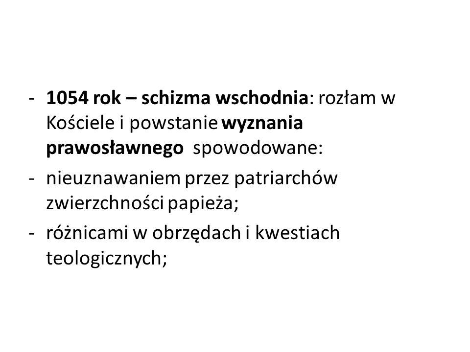 1054 rok – schizma wschodnia: rozłam w Kościele i powstanie wyznania prawosławnego spowodowane:
