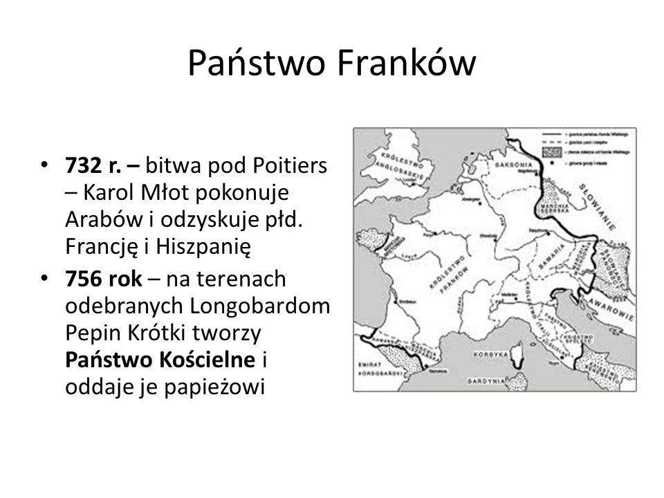 Państwo Franków 732 r. – bitwa pod Poitiers – Karol Młot pokonuje Arabów i odzyskuje płd. Francję i Hiszpanię.