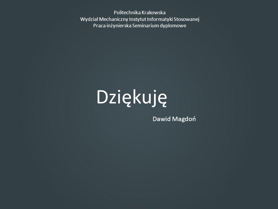 Dziękuję Dawid Magdoń Politechnika Krakowska