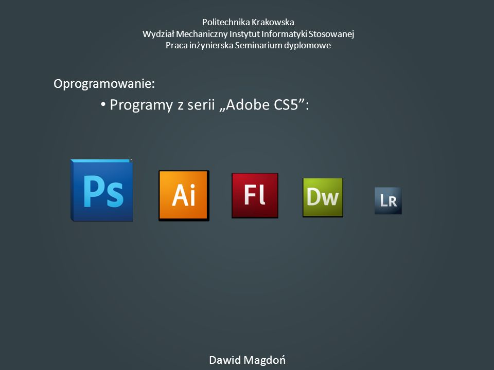"Programy z serii ""Adobe CS5 :"