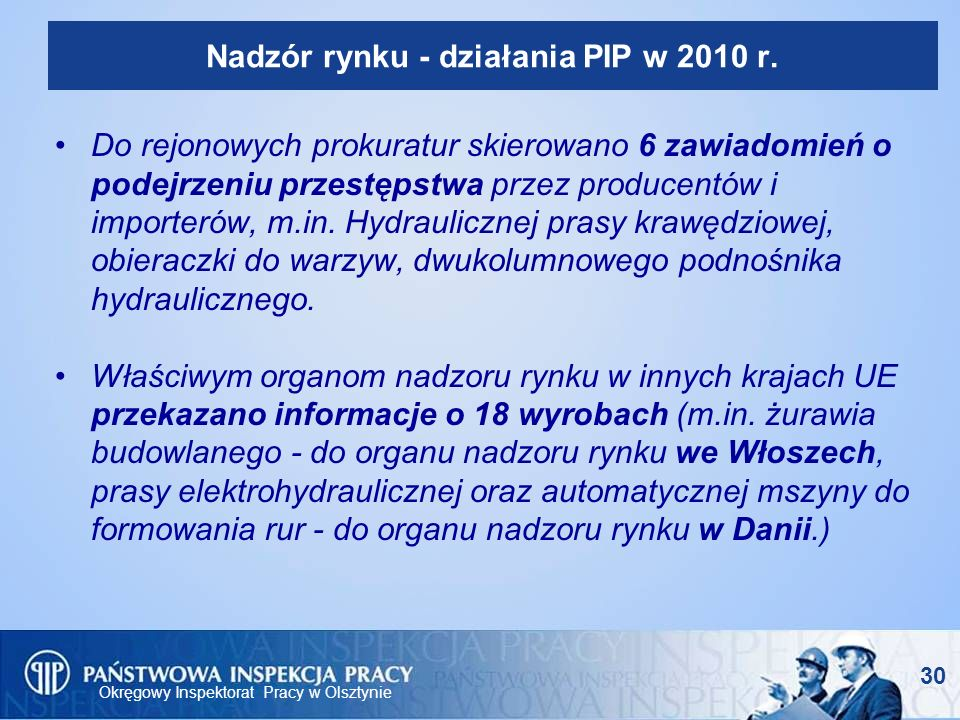 Nadzór rynku - działania PIP w 2010 r.