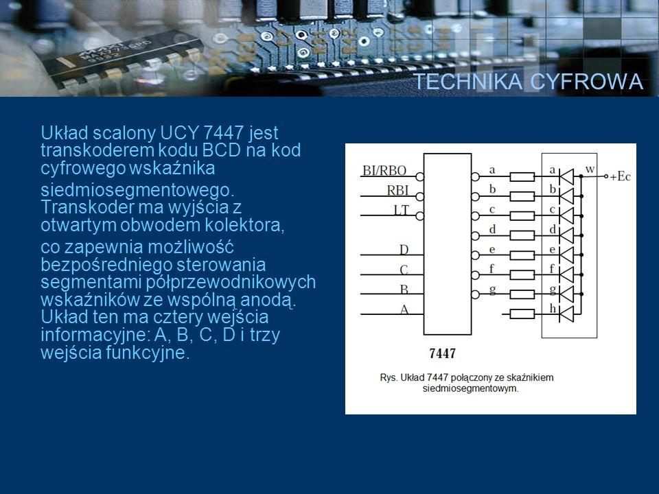 TECHNIKA CYFROWA Układ scalony UCY 7447 jest transkoderem kodu BCD na kod cyfrowego wskaźnika.