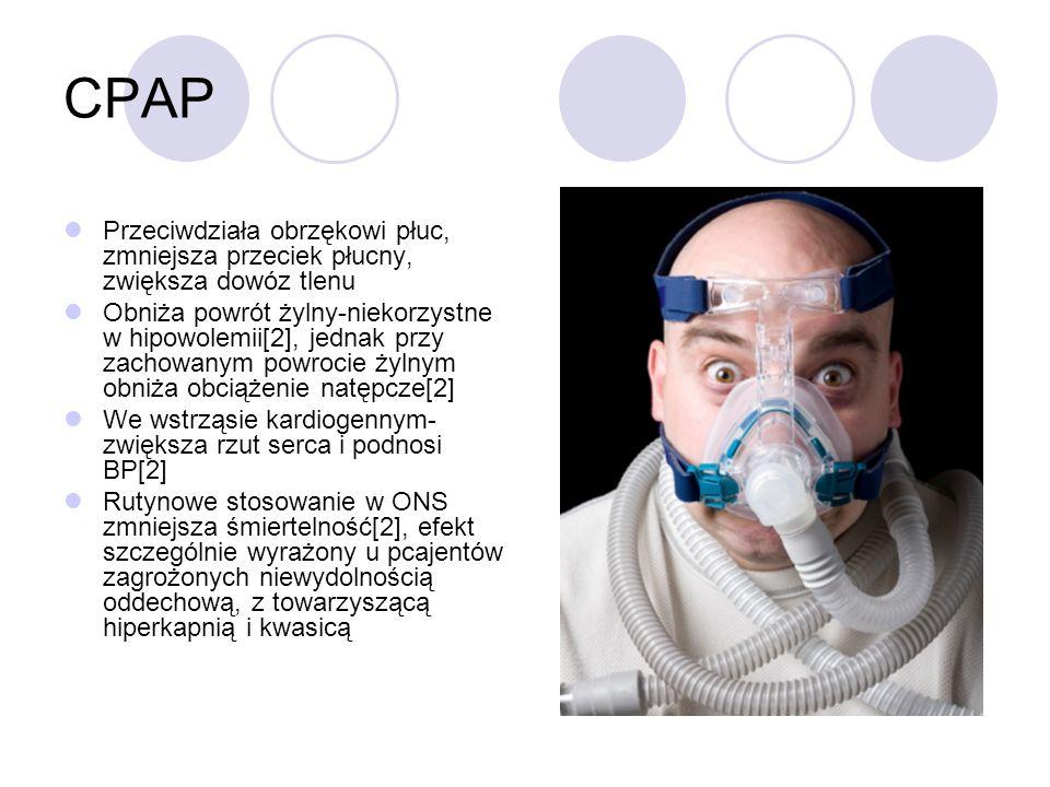 CPAP Przeciwdziała obrzękowi płuc, zmniejsza przeciek płucny, zwiększa dowóz tlenu.
