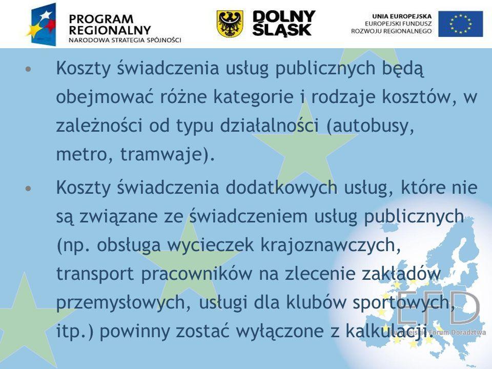 Koszty świadczenia usług publicznych będą obejmować różne kategorie i rodzaje kosztów, w zależności od typu działalności (autobusy, metro, tramwaje).