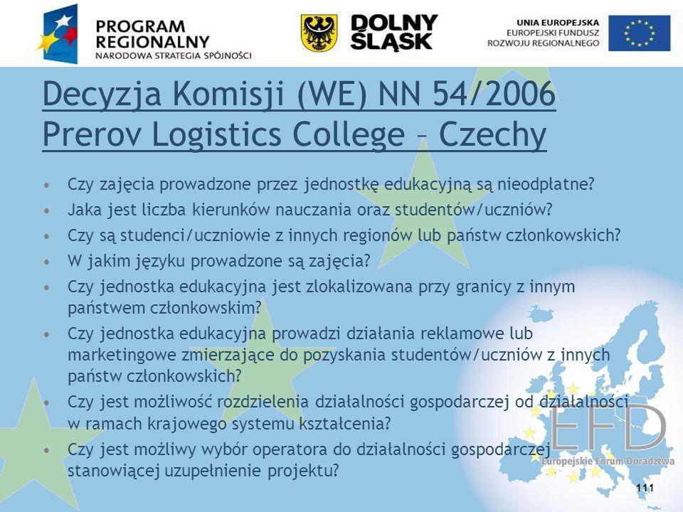 Decyzja Komisji (WE) NN 54/2006 Prerov Logistics College – Czechy