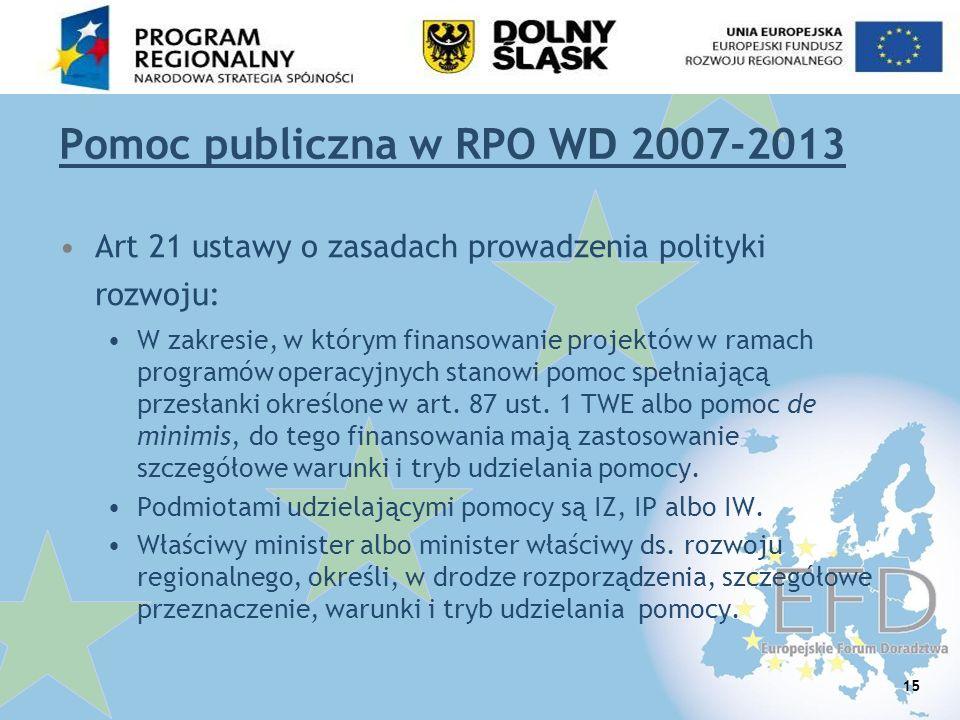 Pomoc publiczna w RPO WD 2007-2013