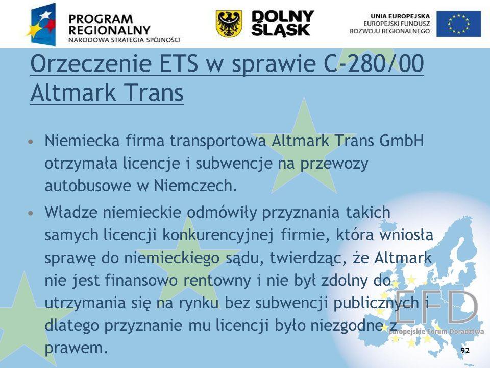 Orzeczenie ETS w sprawie C-280/00 Altmark Trans