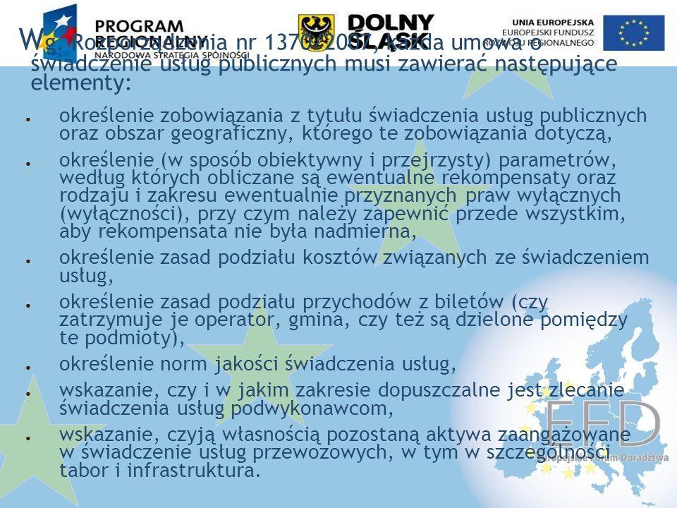 Wg. Rozporządzenia nr 1370/2007, każda umowa o świadczenie usług publicznych musi zawierać następujące elementy: