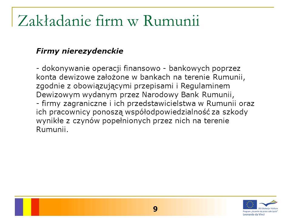 Zakładanie firm w Rumunii