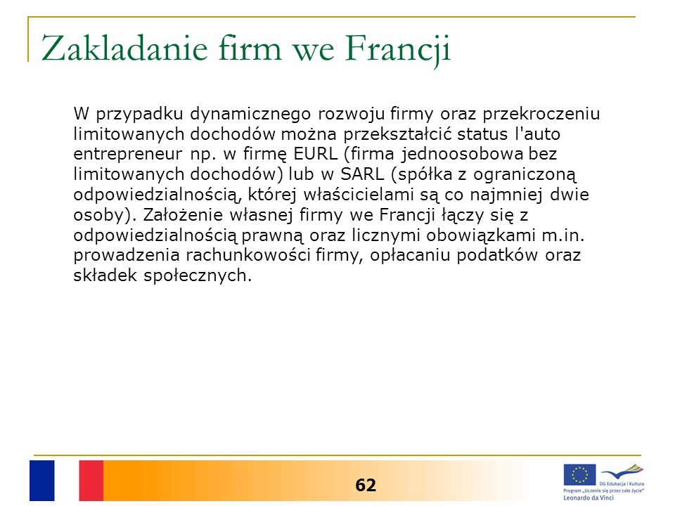 Zakladanie firm we Francji