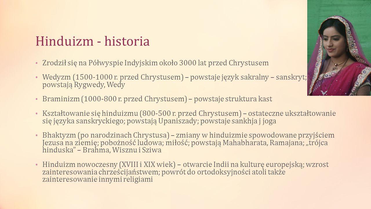 Hinduizm - historia Zrodził się na Półwyspie Indyjskim około 3000 lat przed Chrystusem.