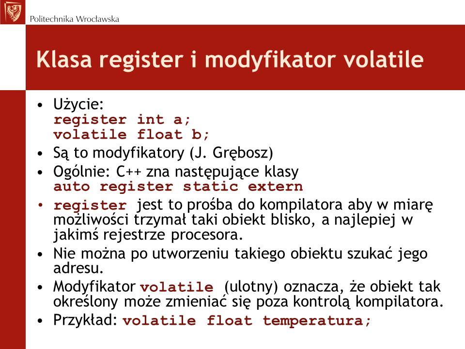 Klasa register i modyfikator volatile