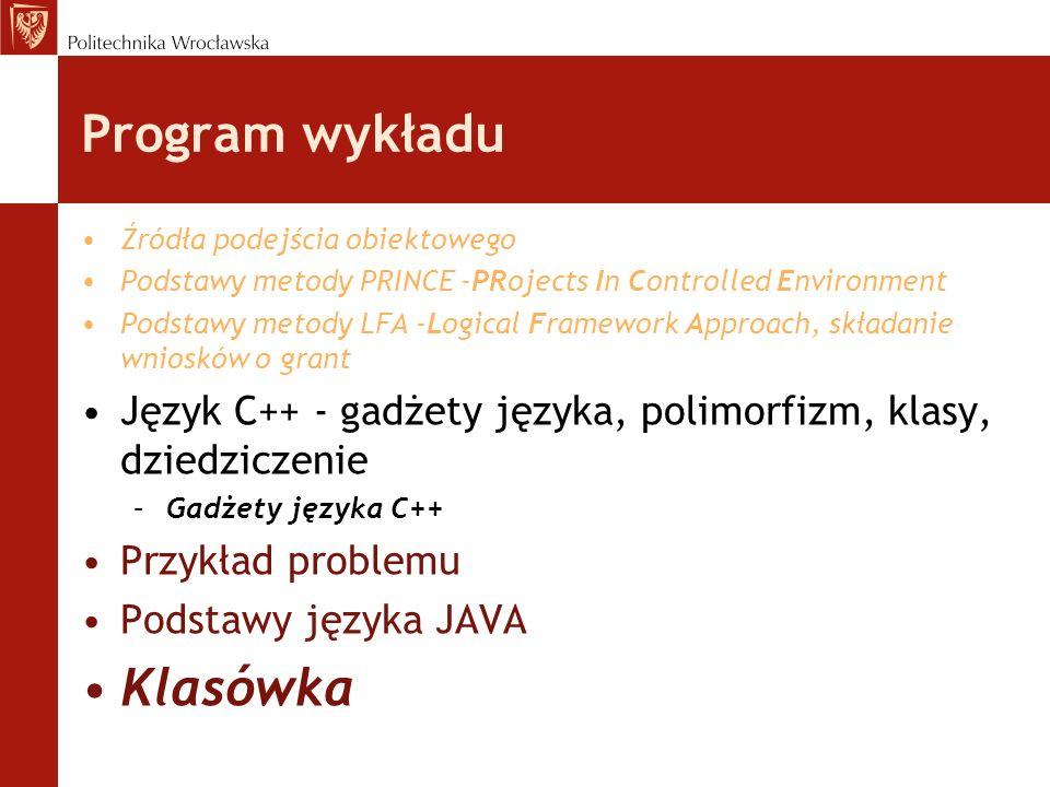 Program wykładu Klasówka