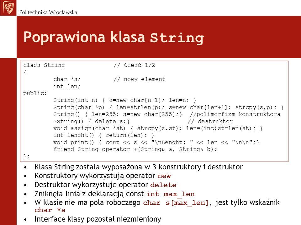 Poprawiona klasa String
