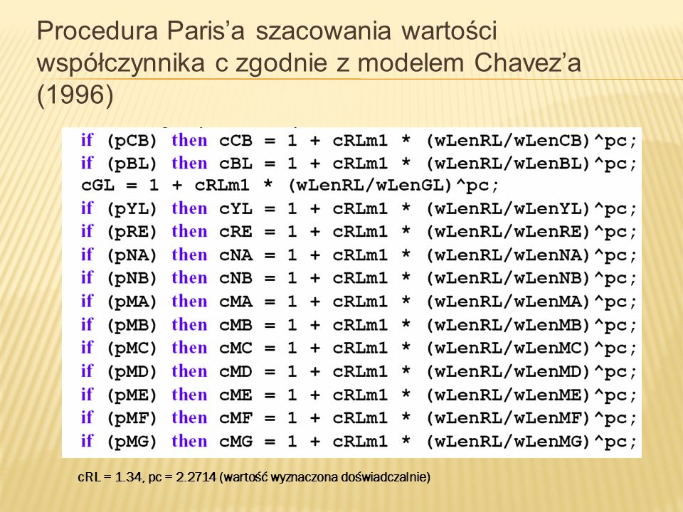 Procedura Paris'a szacowania wartości współczynnika c zgodnie z modelem Chavez'a (1996)