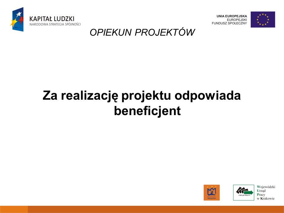 Za realizację projektu odpowiada beneficjent
