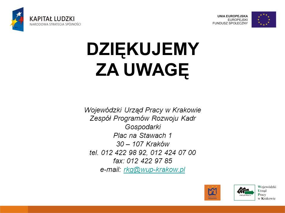 DZIĘKUJEMY ZA UWAGĘ Wojewódzki Urząd Pracy w Krakowie