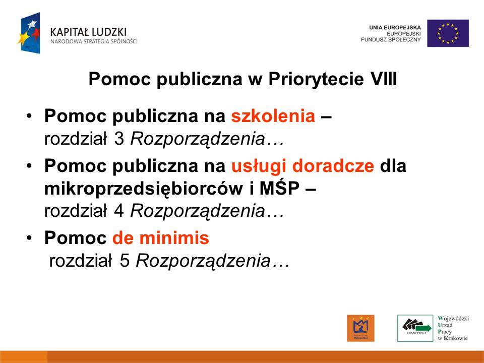 Pomoc publiczna w Priorytecie VIII
