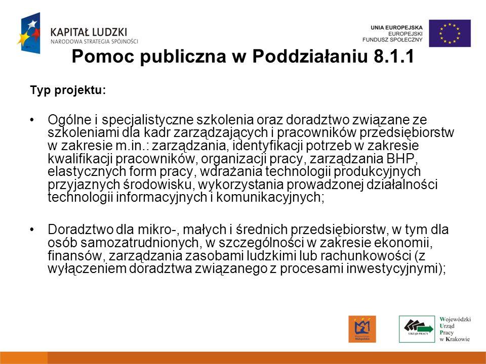 Pomoc publiczna w Poddziałaniu 8.1.1