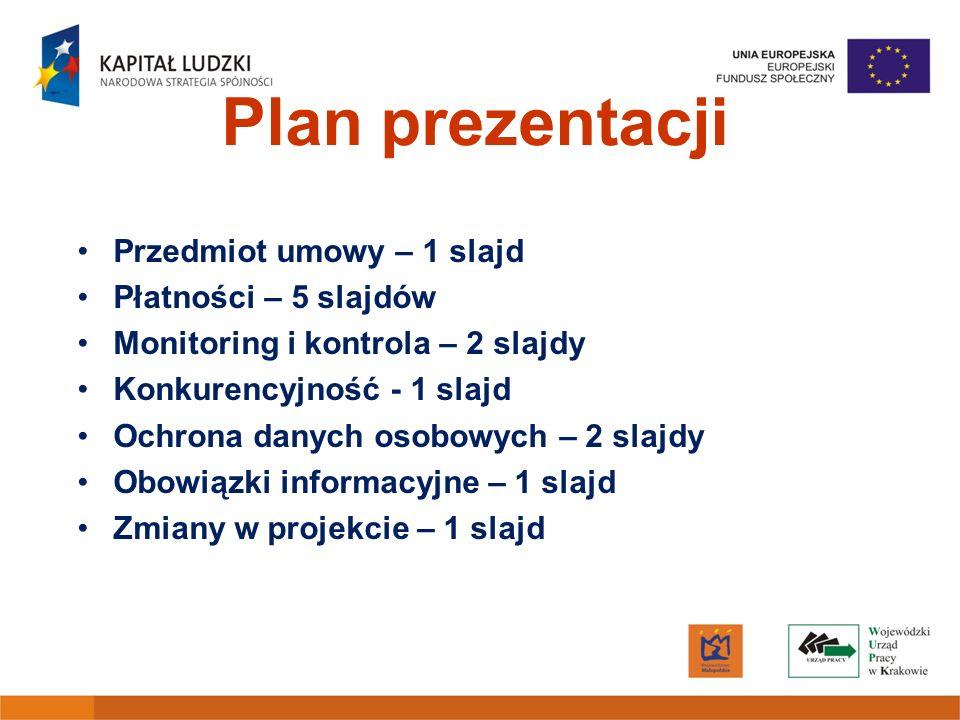 Plan prezentacji Przedmiot umowy – 1 slajd Płatności – 5 slajdów