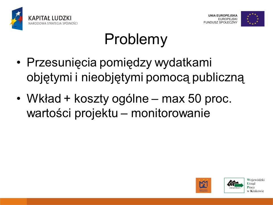Problemy Przesunięcia pomiędzy wydatkami objętymi i nieobjętymi pomocą publiczną.