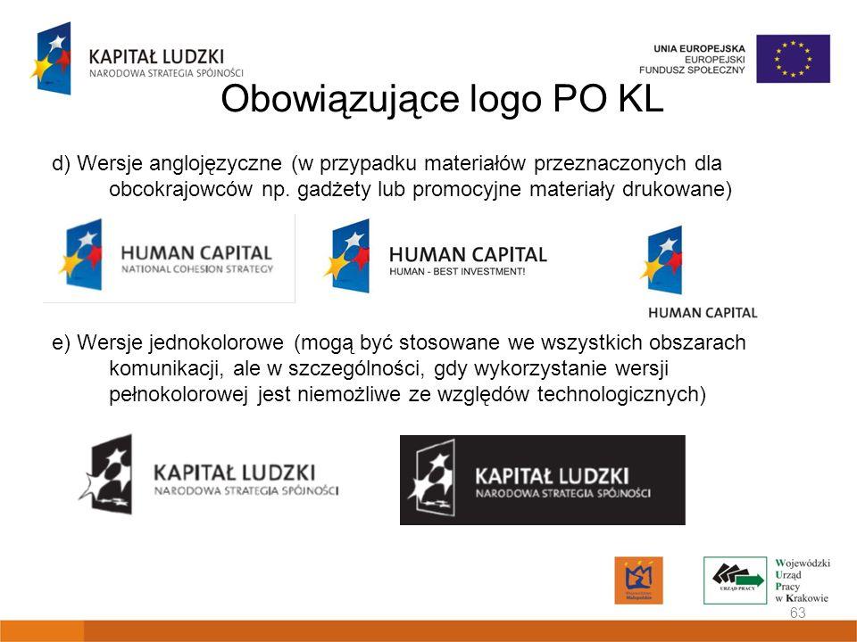 Obowiązujące logo PO KL