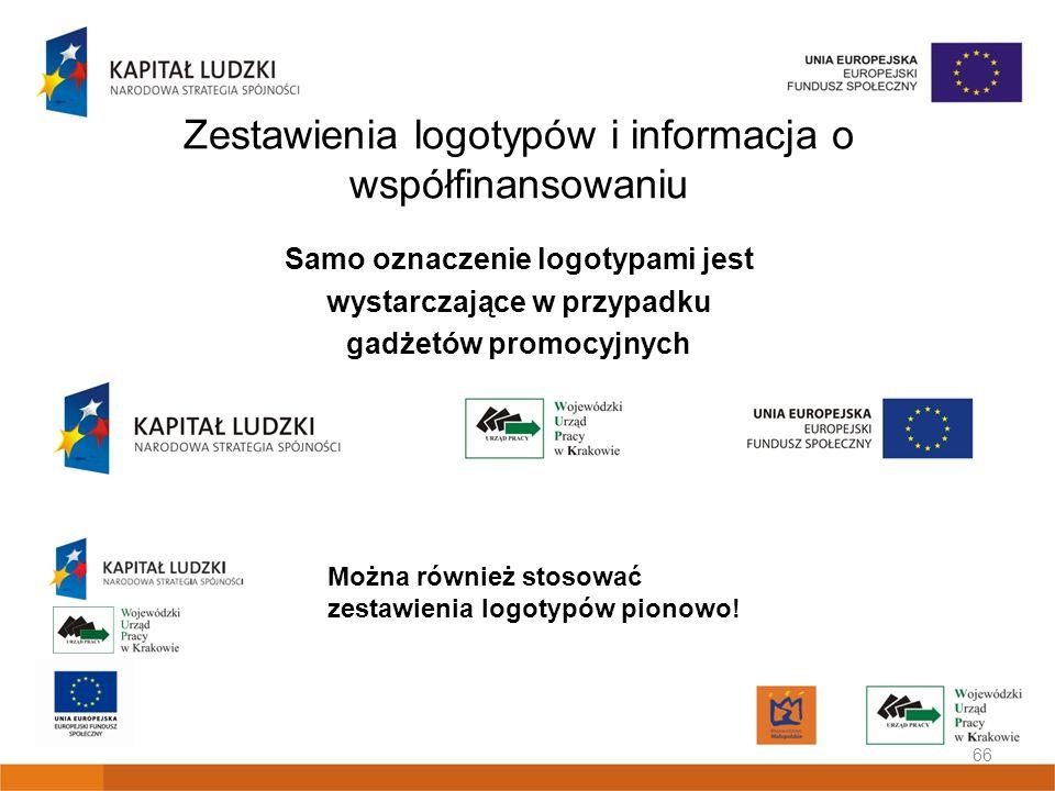 Zestawienia logotypów i informacja o współfinansowaniu