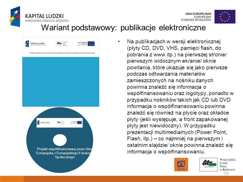 Wariant podstawowy: publikacje elektroniczne