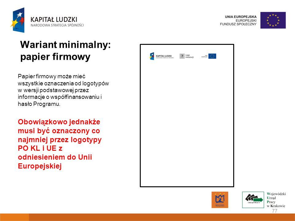Wariant minimalny: papier firmowy