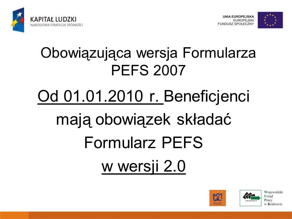 Obowiązująca wersja Formularza PEFS 2007