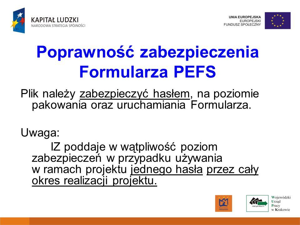 Poprawność zabezpieczenia Formularza PEFS