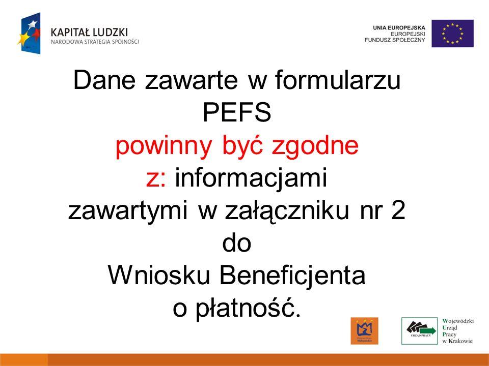 Dane zawarte w formularzu PEFS powinny być zgodne z: informacjami