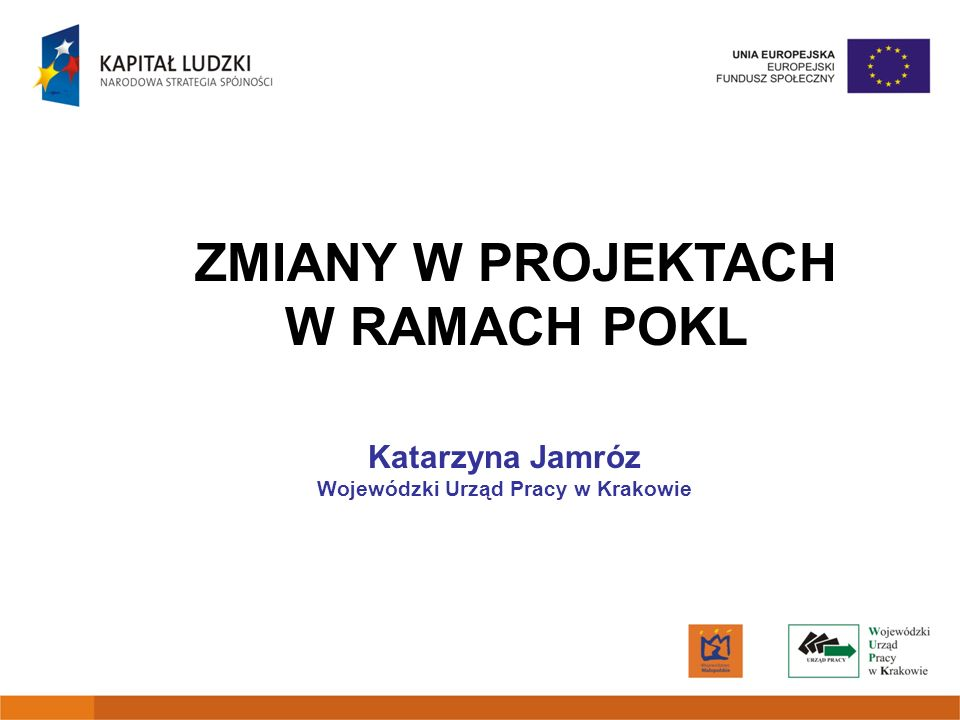 ZMIANY W PROJEKTACH W RAMACH POKL Wojewódzki Urząd Pracy w Krakowie