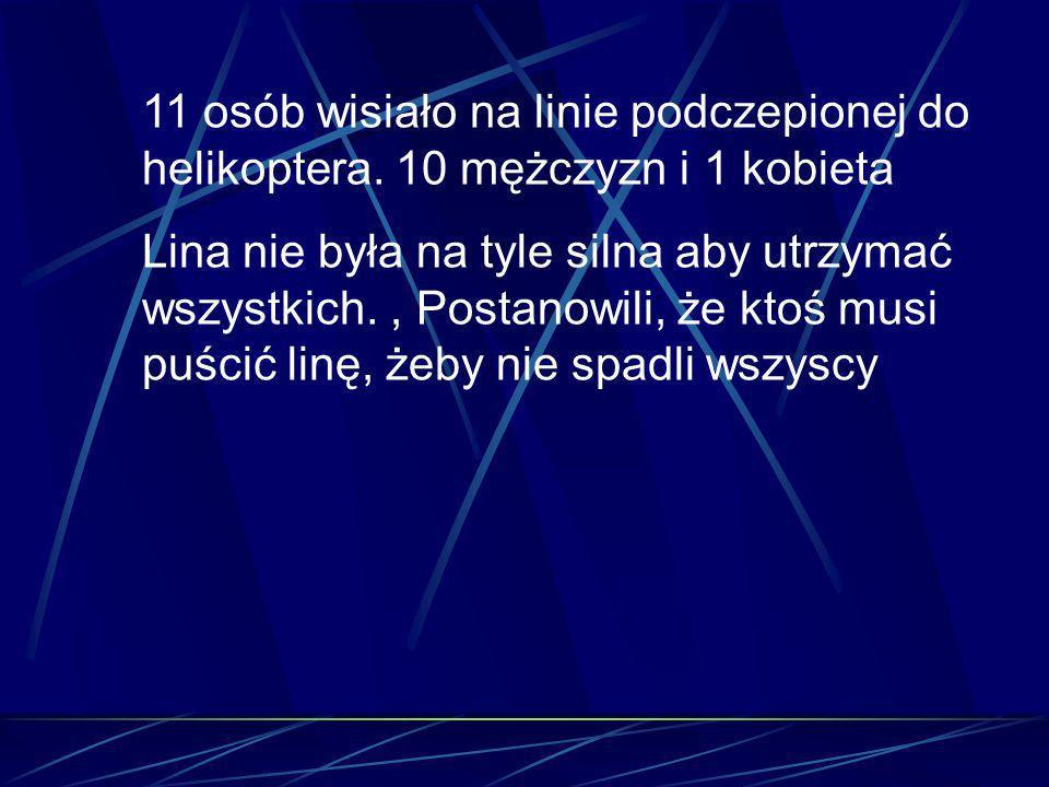 11 osób wisiało na linie podczepionej do helikoptera