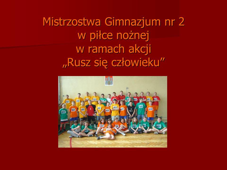 """Mistrzostwa Gimnazjum nr 2 w piłce nożnej w ramach akcji """"Rusz się człowieku"""