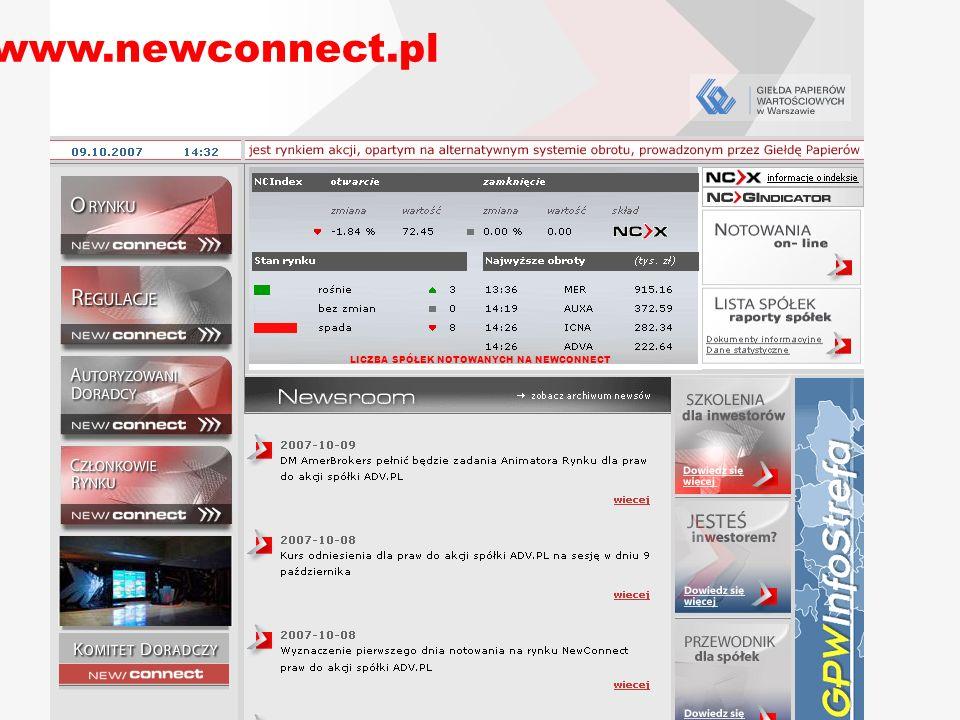 www.newconnect.pl LICZBA SPÓŁEK NOTOWANYCH NA NEWCONNECT