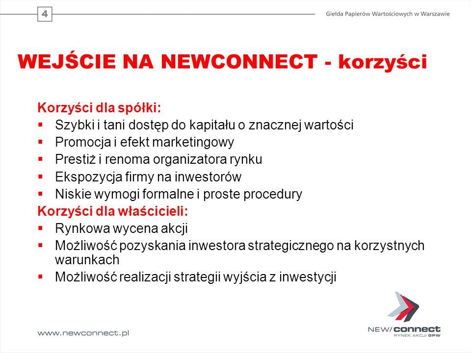 WEJŚCIE NA NEWCONNECT - korzyści