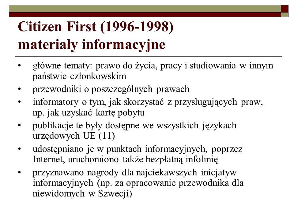 Citizen First (1996-1998) materiały informacyjne