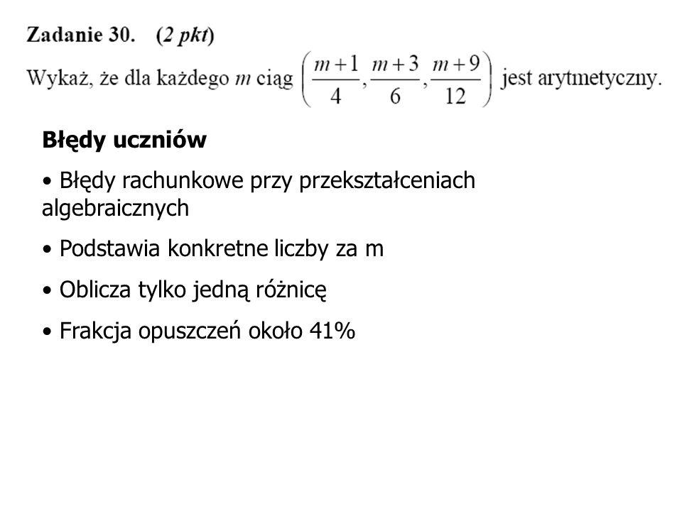 Błędy uczniów Błędy rachunkowe przy przekształceniach algebraicznych. Podstawia konkretne liczby za m.