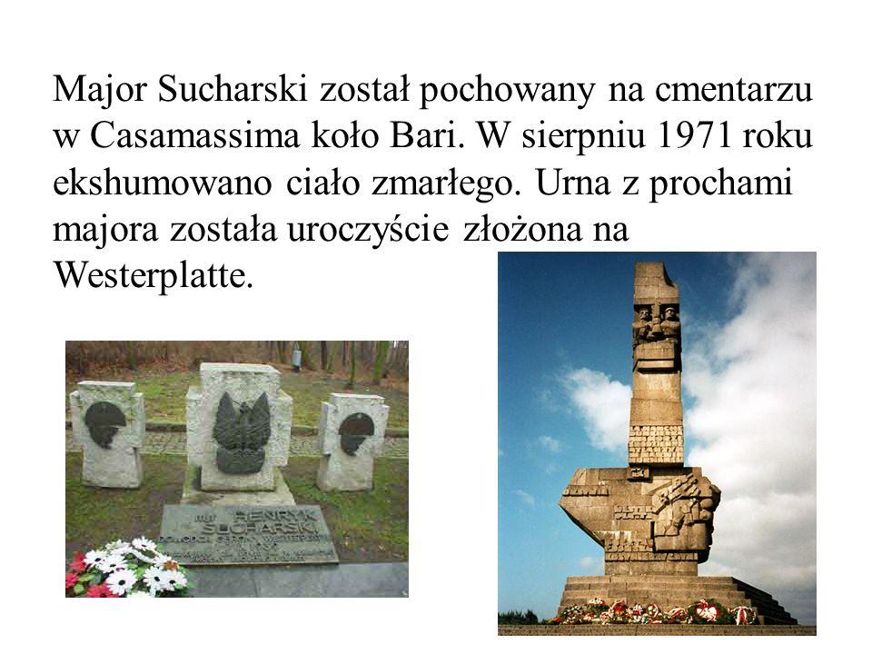 Major Sucharski został pochowany na cmentarzu w Casamassima koło Bari