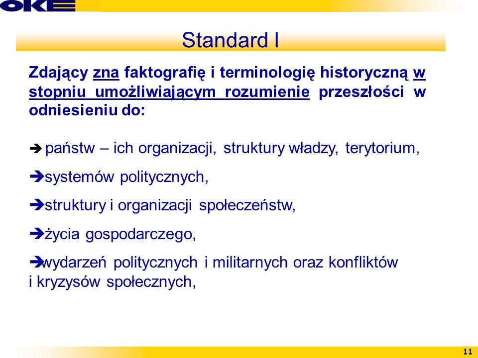 Standard IZdający zna faktografię i terminologię historyczną w stopniu umożliwiającym rozumienie przeszłości w odniesieniu do: