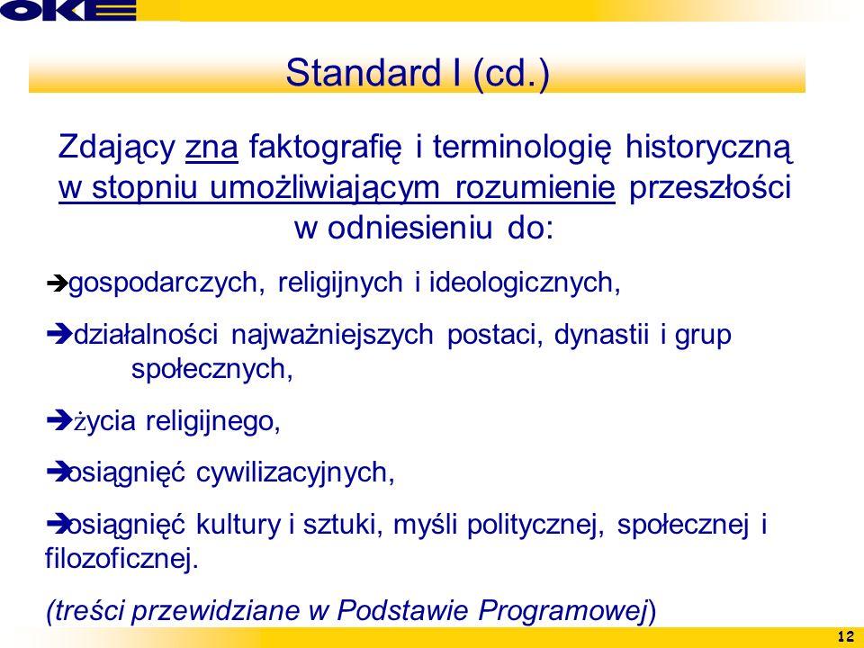 Standard I (cd.)Zdający zna faktografię i terminologię historyczną w stopniu umożliwiającym rozumienie przeszłości w odniesieniu do: