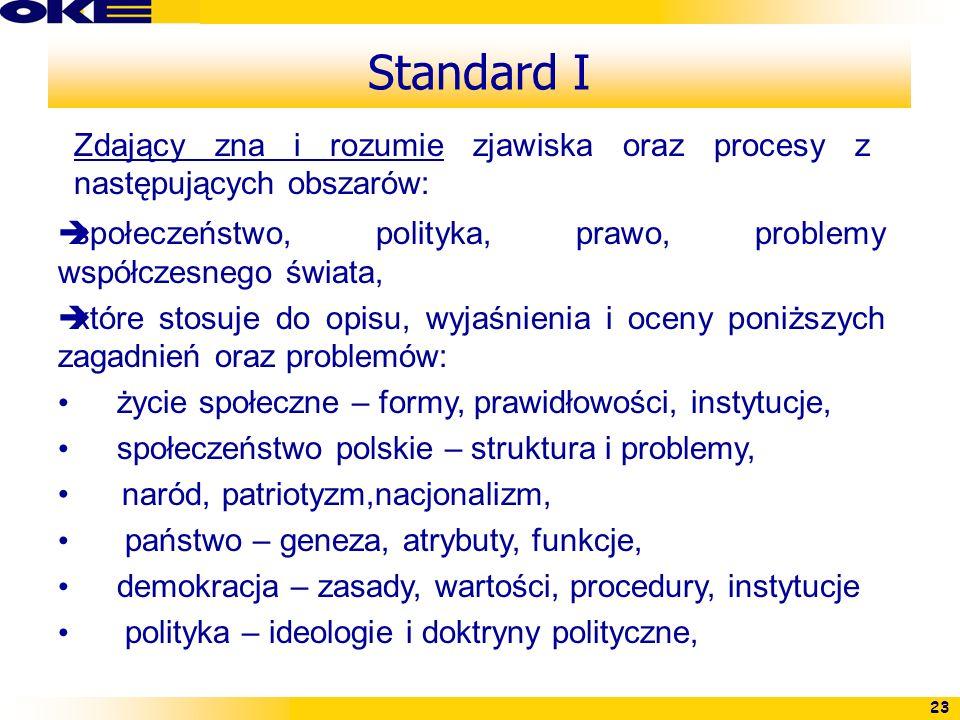 Standard IZdający zna i rozumie zjawiska oraz procesy z następujących obszarów: społeczeństwo, polityka, prawo, problemy współczesnego świata,